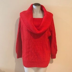 Red cowel neck cable knit sweater